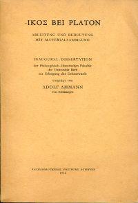 'Ikos' bei Platon. Ableitung und Bedeutung mit Materialsammlung.