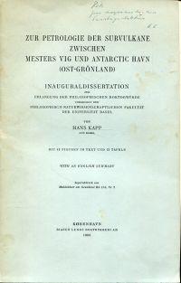 Zur Petrologie der Subvulkane zwischen Mesters Vig und Antarctic Havn (Ost-Grönland).